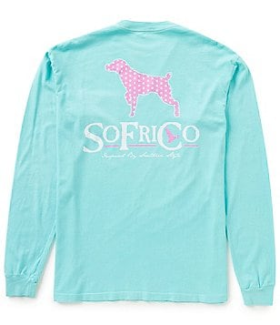 Southern Fried Cotton Polka Pointer Long-Sleeve Graphic Pocket Tee