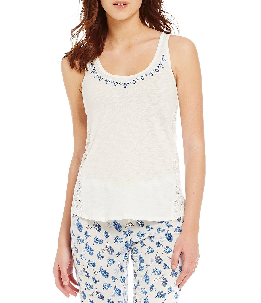 PJ Salvage Coastal Blues Jersey & Crochet Racerback Sleep Tank