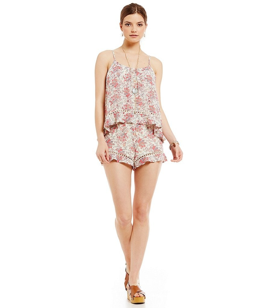WAYF Floral Overlay Sleeveless Romper