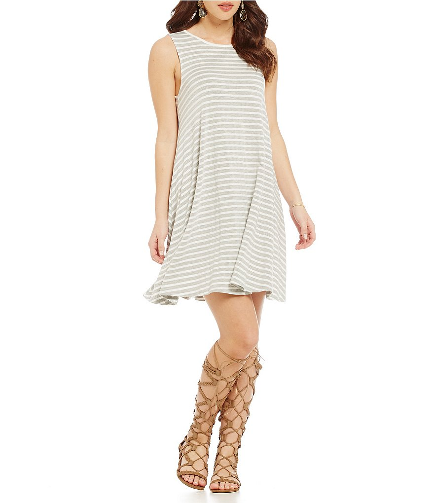 Moa Moa Striped Keyhole-Back Shift Dress