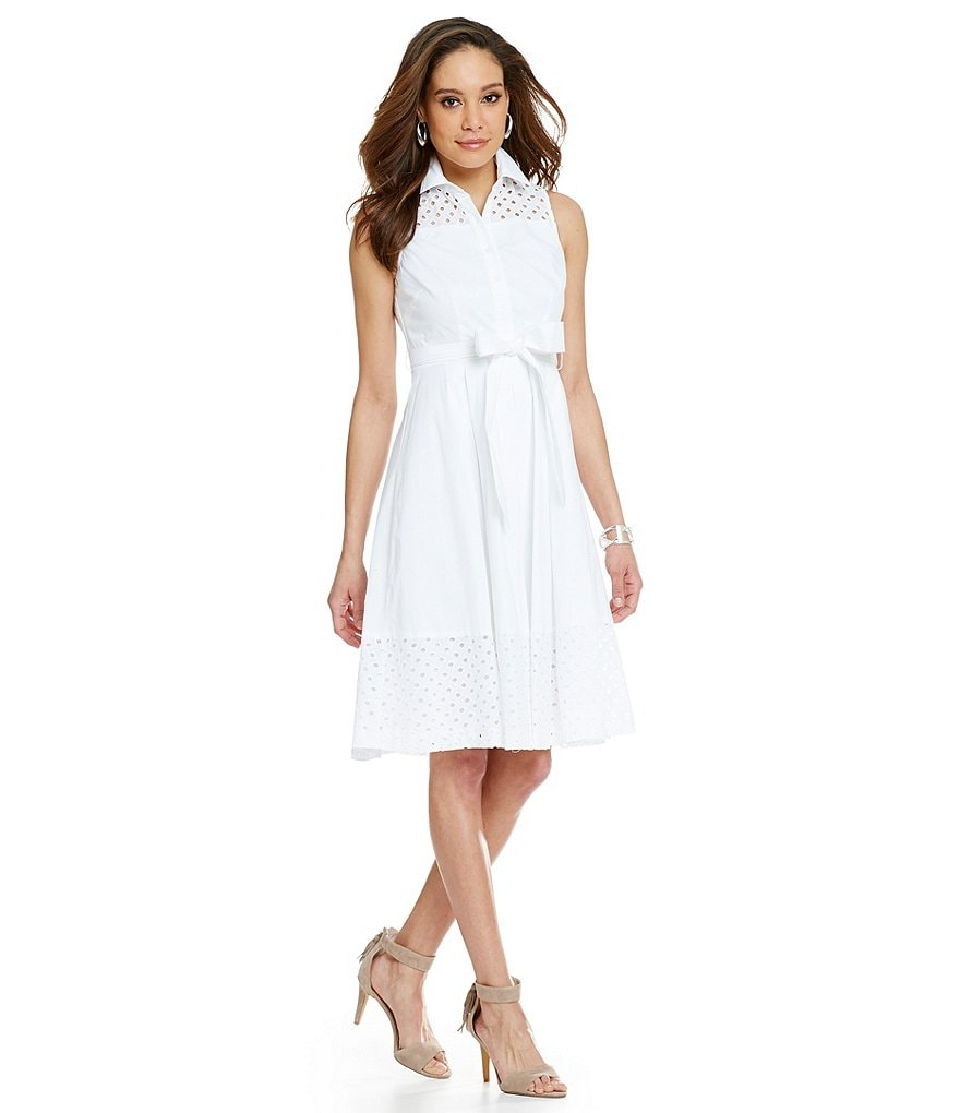 Jessica Howard Petites Belted Eyelet Shirt Dress