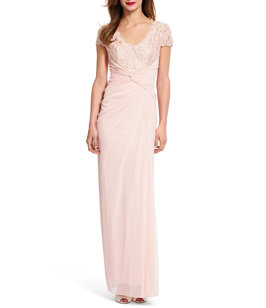 Adrianna Papell Sequin Lace Mesh Gown