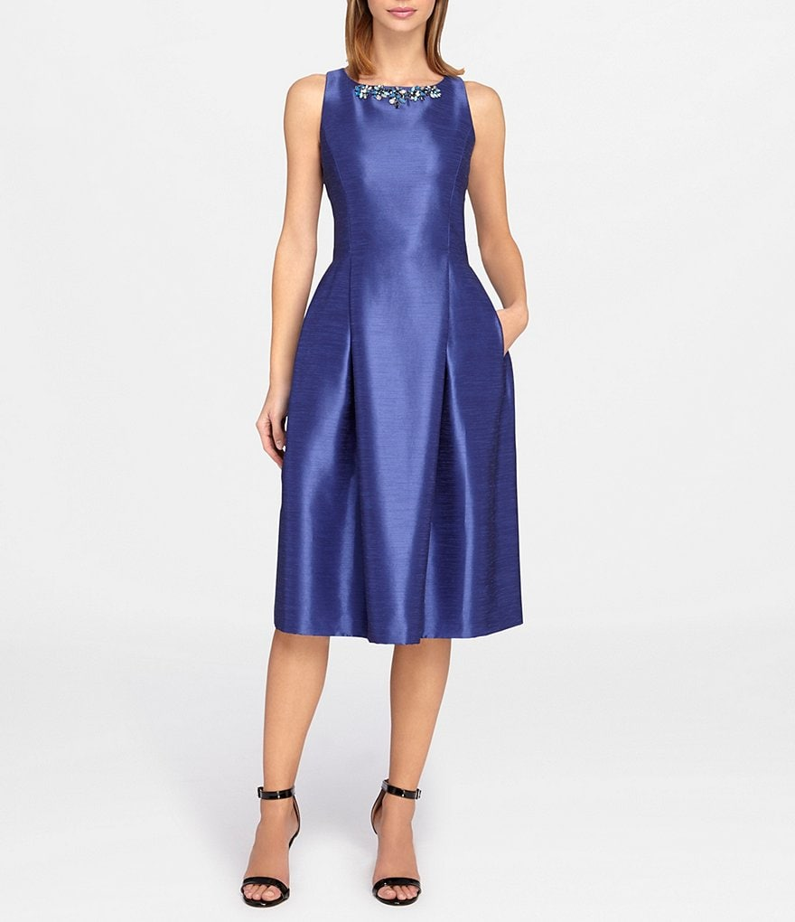Tahari ASL Beaded Neck Midi Fit-and-Flare Dress