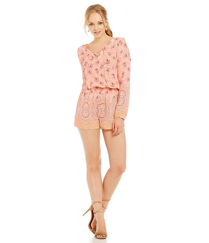 Sanctuary Brown Eyed Girl Long Sleeve Lace-Up Romper