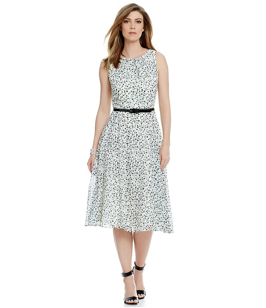 Jessica Howard Belted Fit and Flare Dress