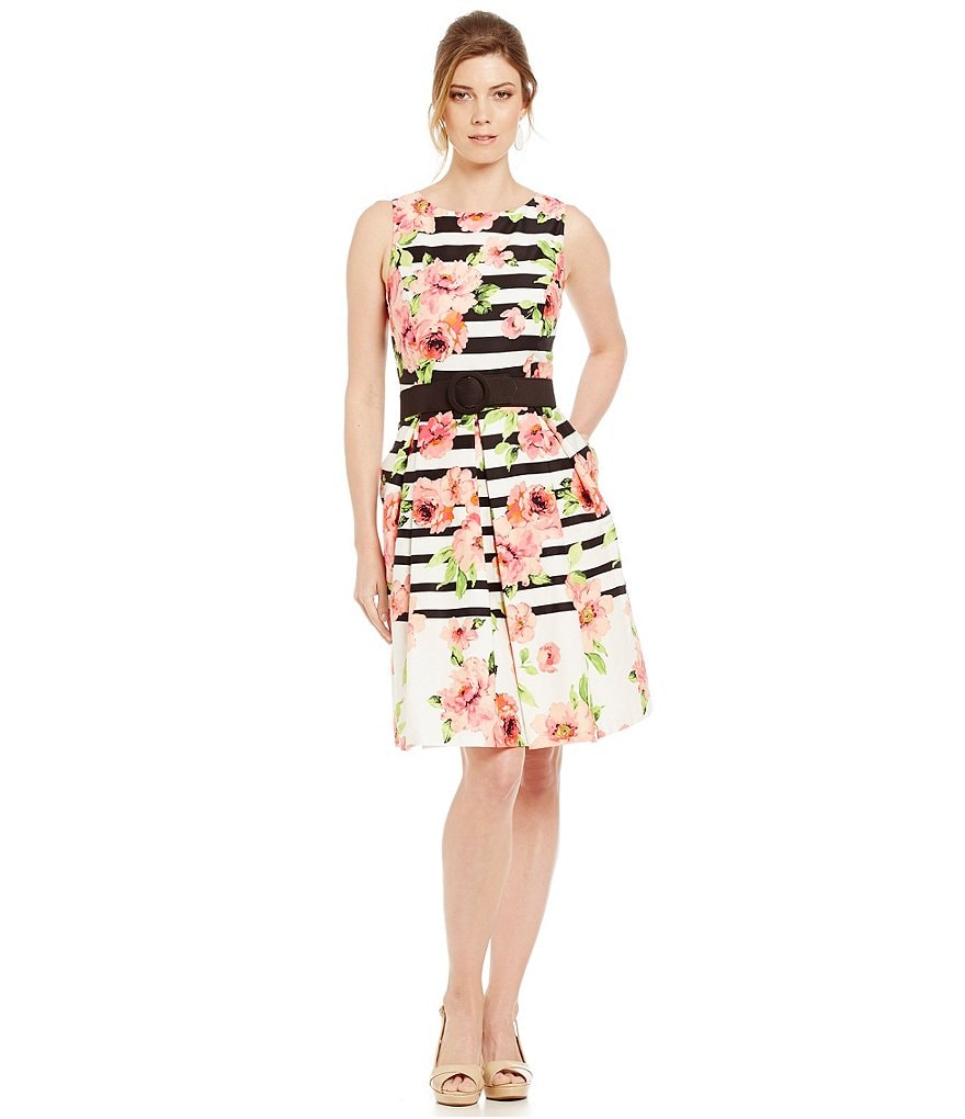 Jessica Howard Floral Belted Dress