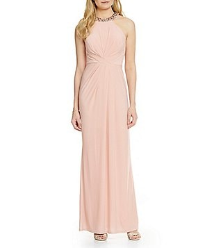Adrianna Papell Beaded Halter Neck Jersey Gown