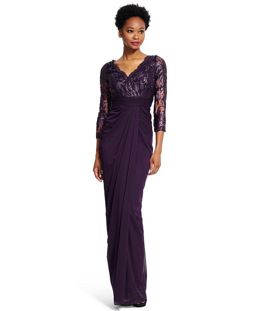 Adrianna Papell Sequin Lace Surplice Mesh Gown