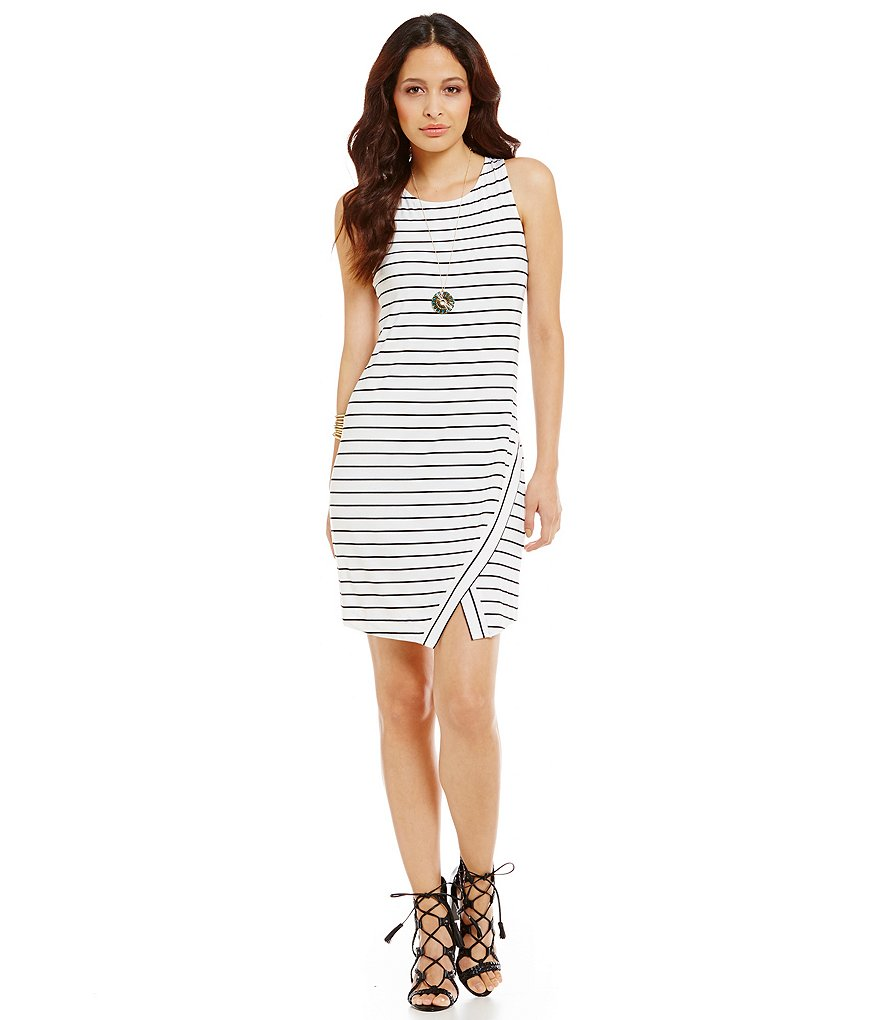 kensie Spandex Asymmetrical Stripe Print Dress