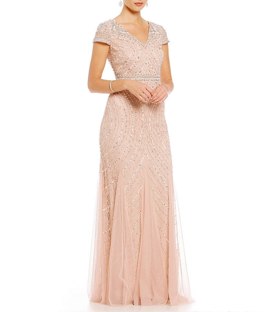Adrianna Papell Sequin and Beaded Lace V-Neck Gown