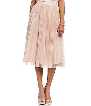 Adrianna Papell Sunburst Pleated Tulle Midi Ball Skirt