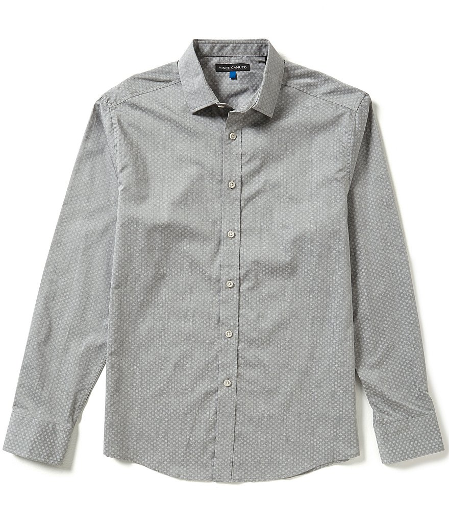 Vince Camuto Long-Sleeve Slim-Fit Printed Woven Button-Down Dress Shirt