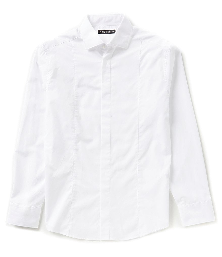 Vince Camuto Long-Sleeve Slim-Fit Solid Woven Shirt
