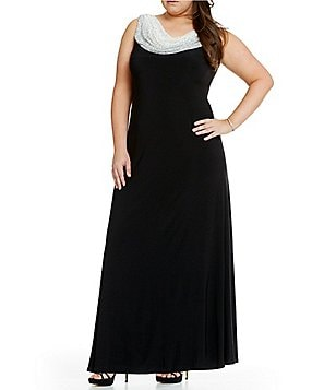 Cachet Plus Caviar Beaded Cowl Neck Gown