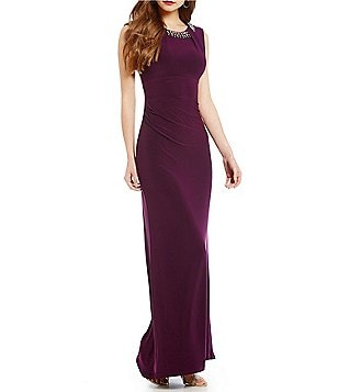 Vince Camuto Bead-Embellished Neck Gown