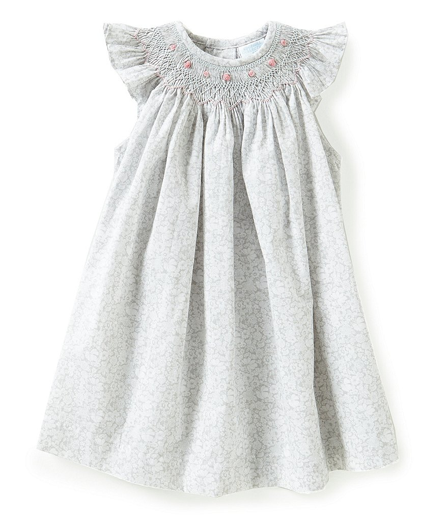 Edgehill Collection Baby Girls 3-9 Months Smocked Floral Bishop Dress