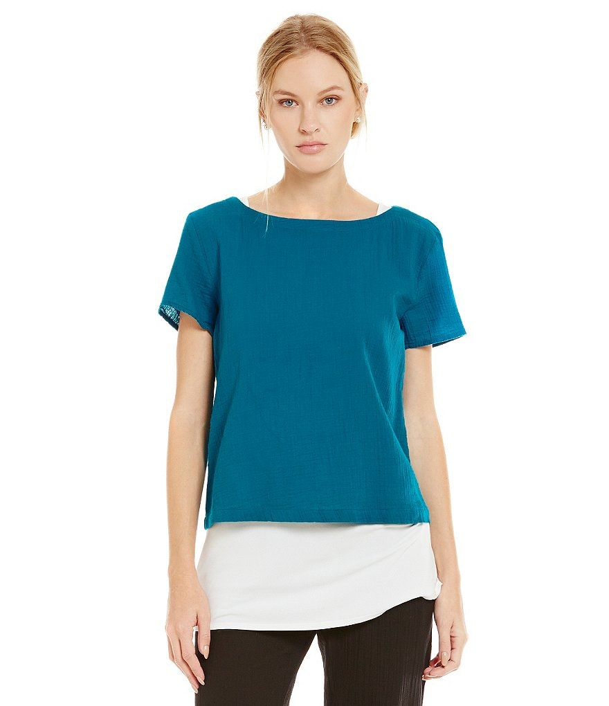Eileen Fisher Cotton Gauze Bateau Top
