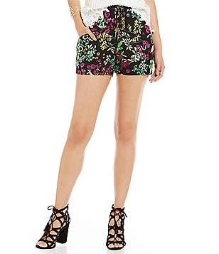 WAYF Floral Lace Up Short