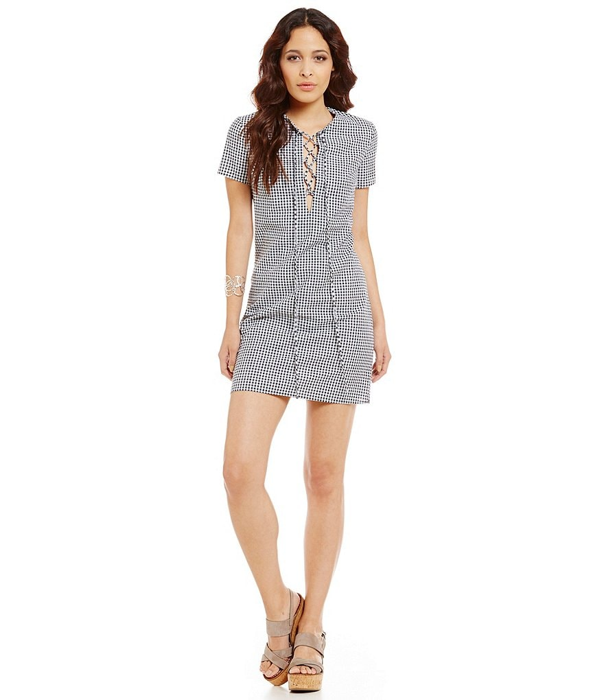 WAYF Short-Sleeve Gingham Lace Up Dress