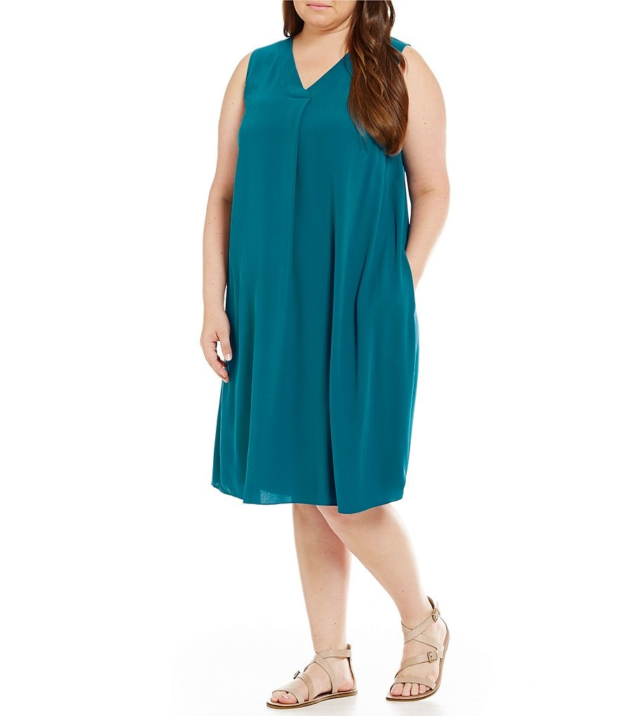 Eileen Fisher Plus V-Neck Knee Length Dress