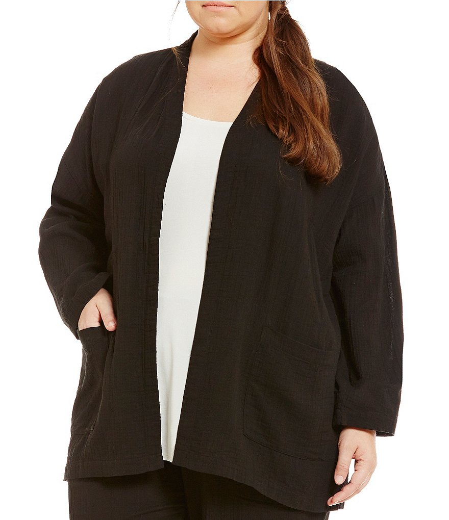 Eileen Fisher Plus Long Boxy Open-Front Jacket