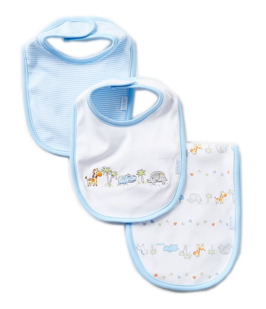 Little Me Printed/Solid Bibs & Burpcloth Three-Piece Set