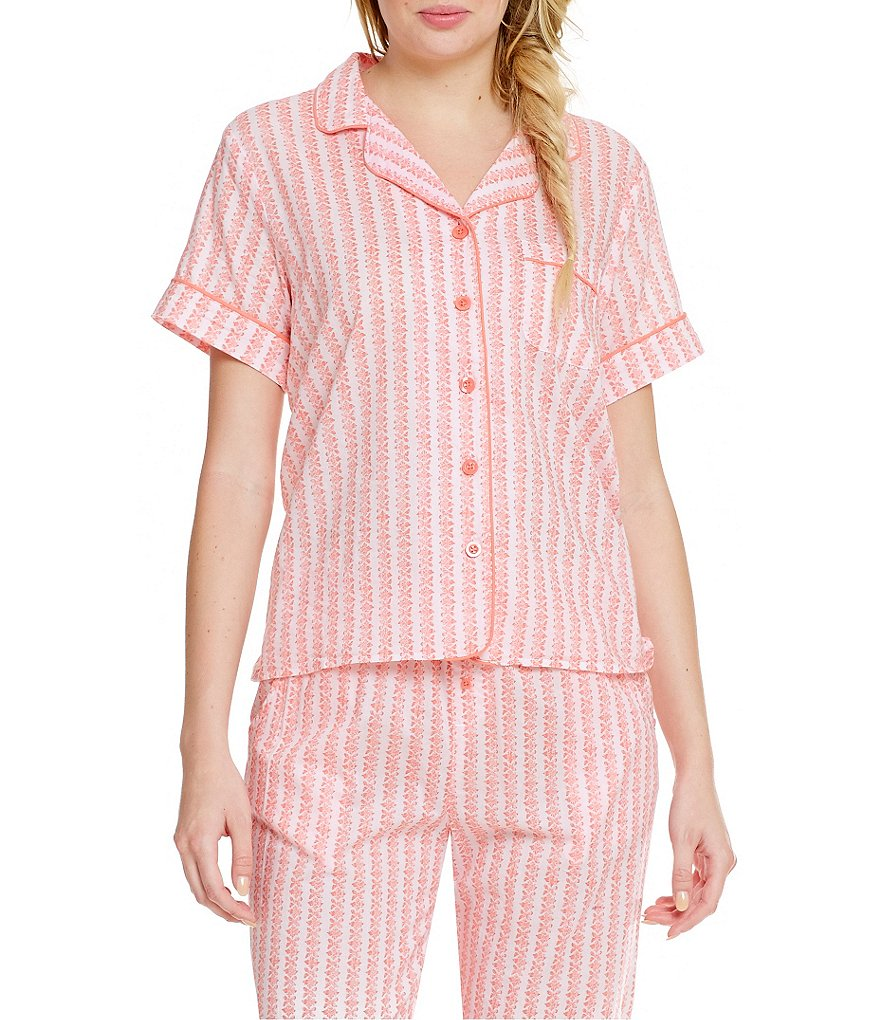 Sleep Sense Striped Poplin Sleep Top