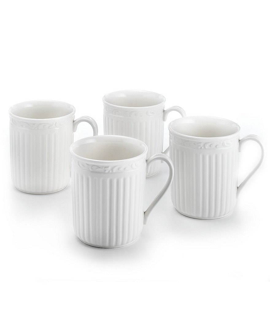 Mikasa Italian Countryside Ridged Floral Stoneware Mugs, Set of 4