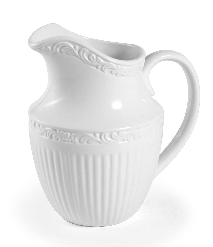 Mikasa Italian Countryside Embossed Floral Stoneware Pitcher