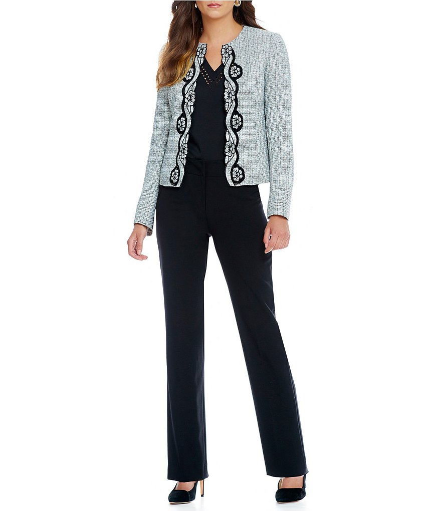 Tahari ASL Embroidered Cut-Out Pant Suit