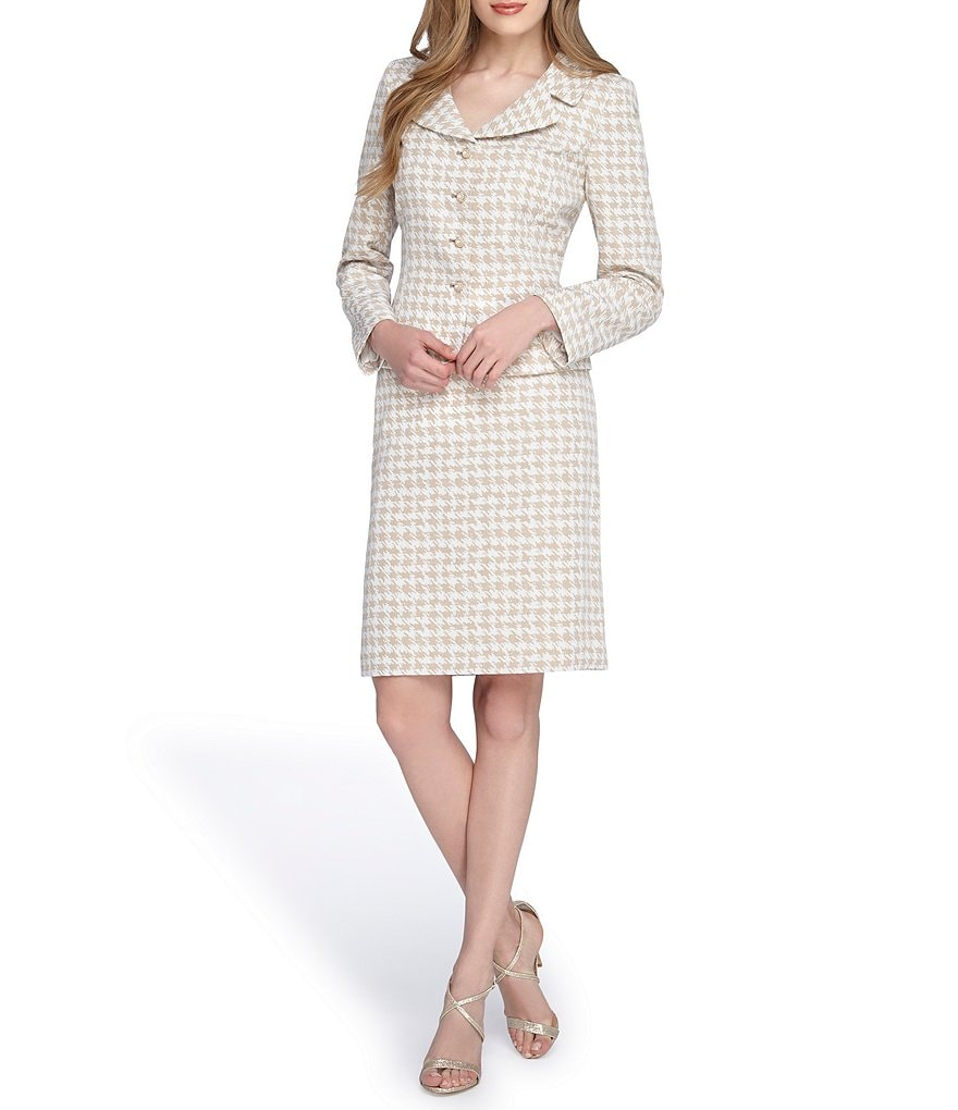Tahari ASL Portrait Neck Houndstooth Skirt Suit