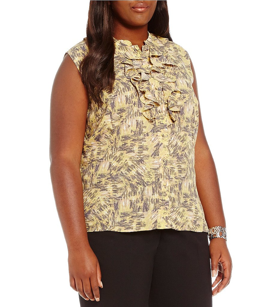 Tahari ASL Plus Ruffled Button-Down Top