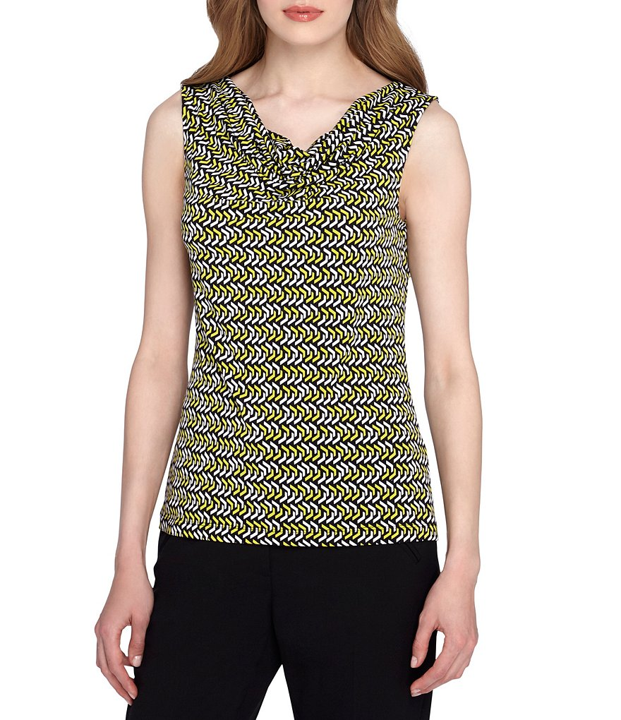 Tahari ASL Drape Neck Sleeveless Printed Top
