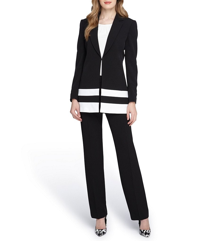 Tahari ASL Notch Collar Trim Detail Pant Suit