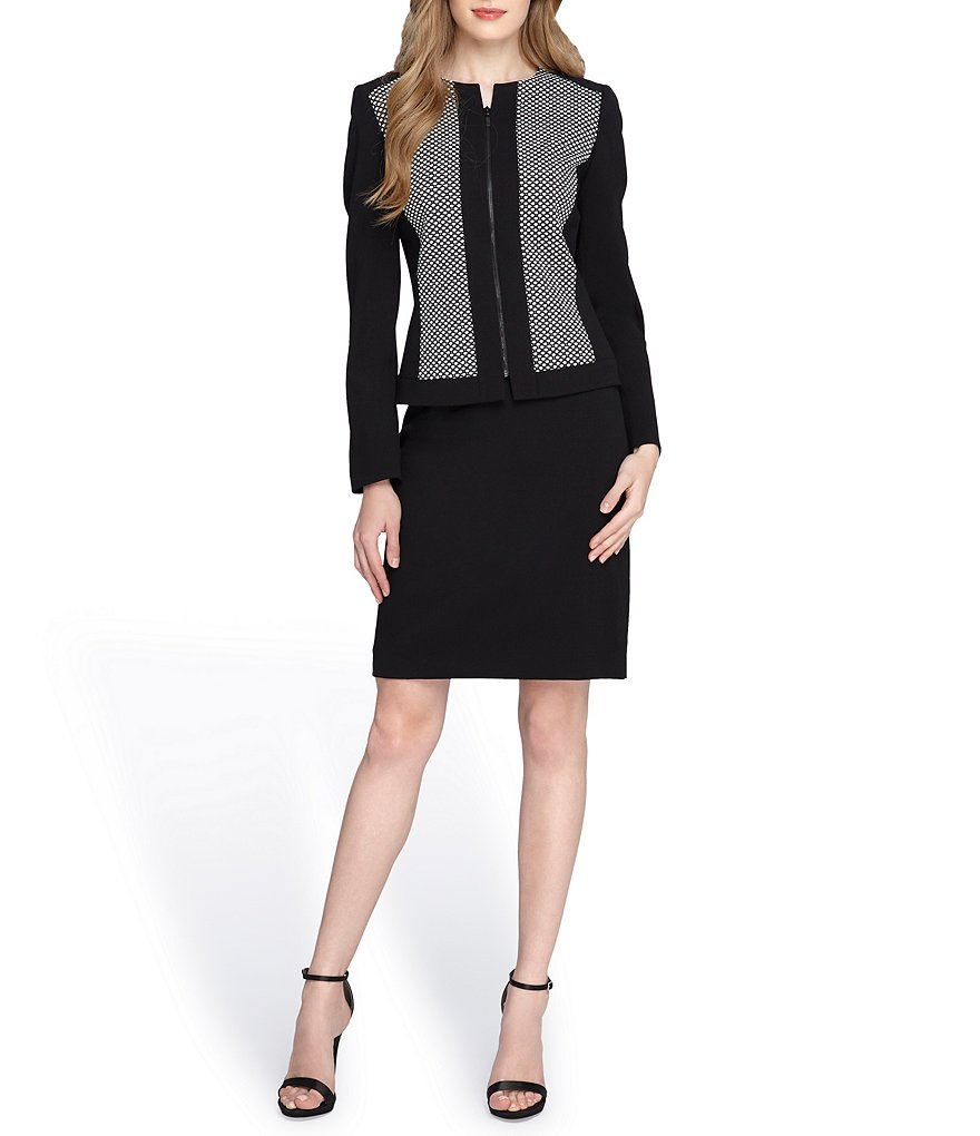Tahari ASL Honeycomb Zip Front Skirt Suit