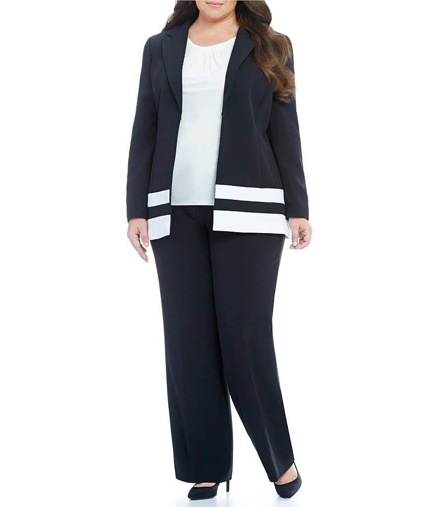 Tahari ASL Plus Notch Collar Trim Detail Pant Suit