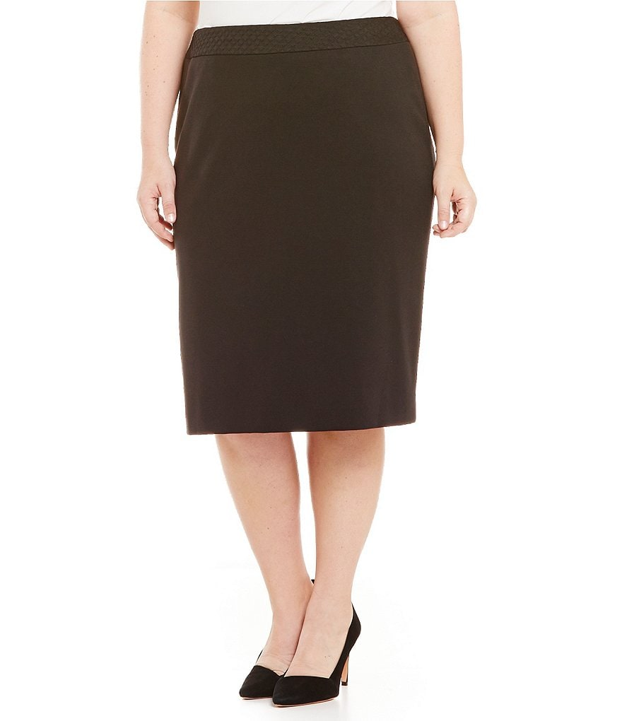 Tahari ASL Plus Quilted Waistband Straight Skirt