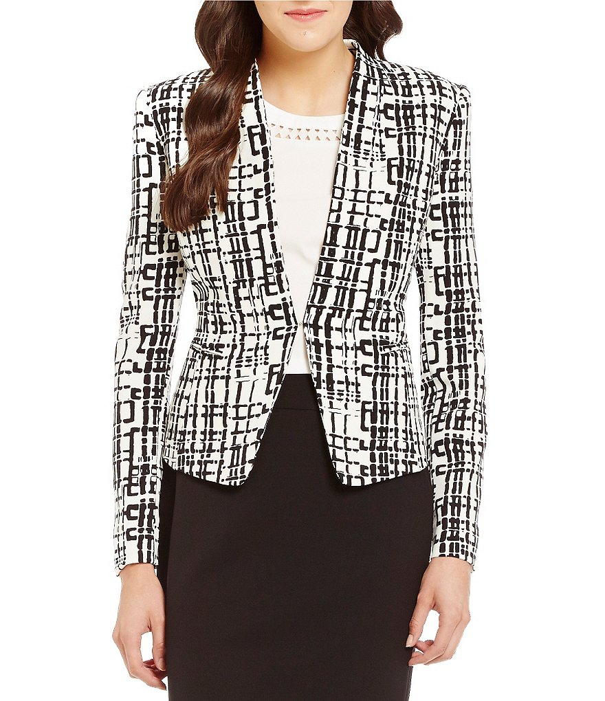 Tahari ASL Collarless Pointed Hem Printed Jacket
