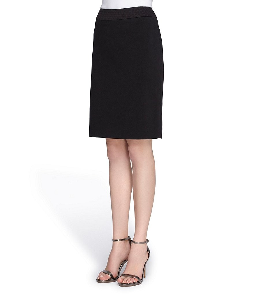 Tahari ASL Quilted Waistband Straight Skirt