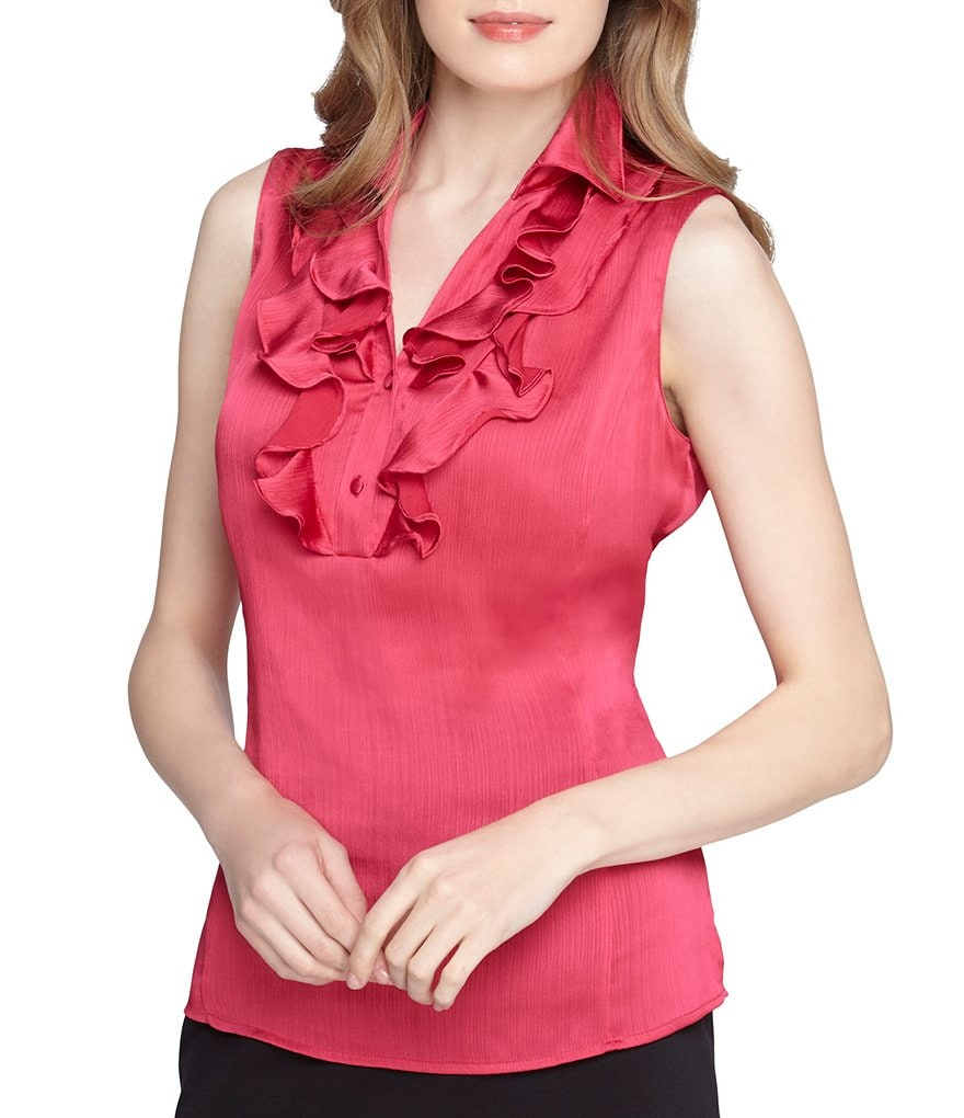 Tahari ASL Rolled Collar Ruffle Front Button Down Top