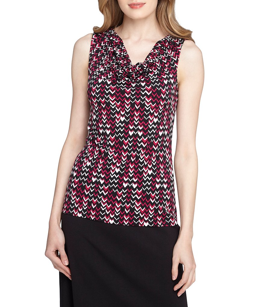 Tahari ASL Sleeveless Drape Neck Printed Top