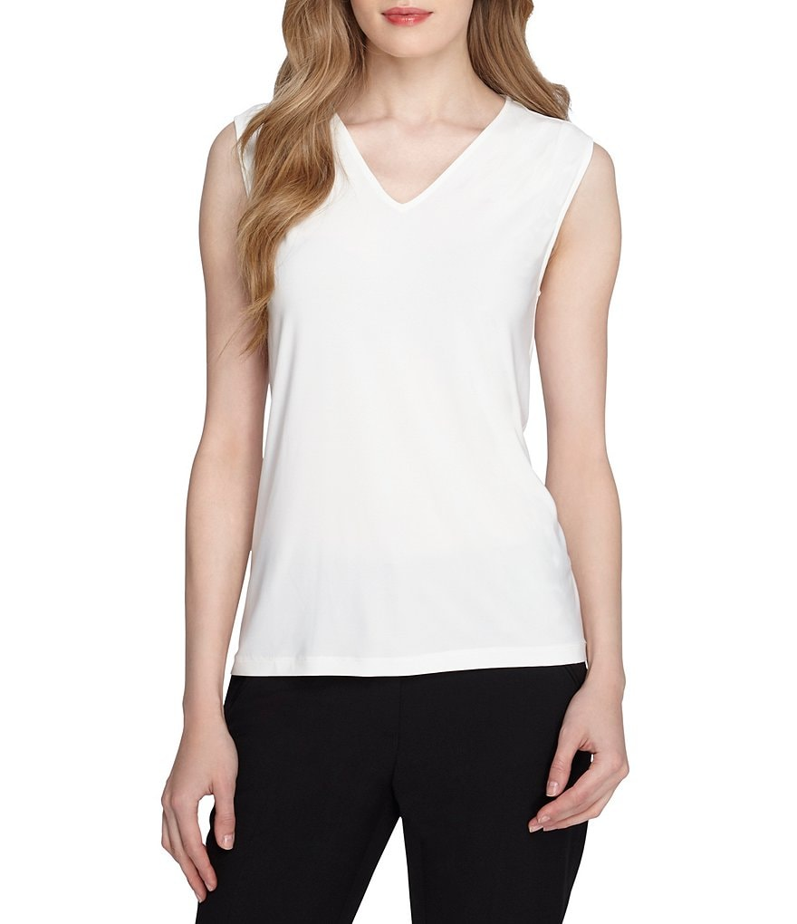 Tahari ASL V-Neck Pintucked Shoulder Sleeveless Knit Top