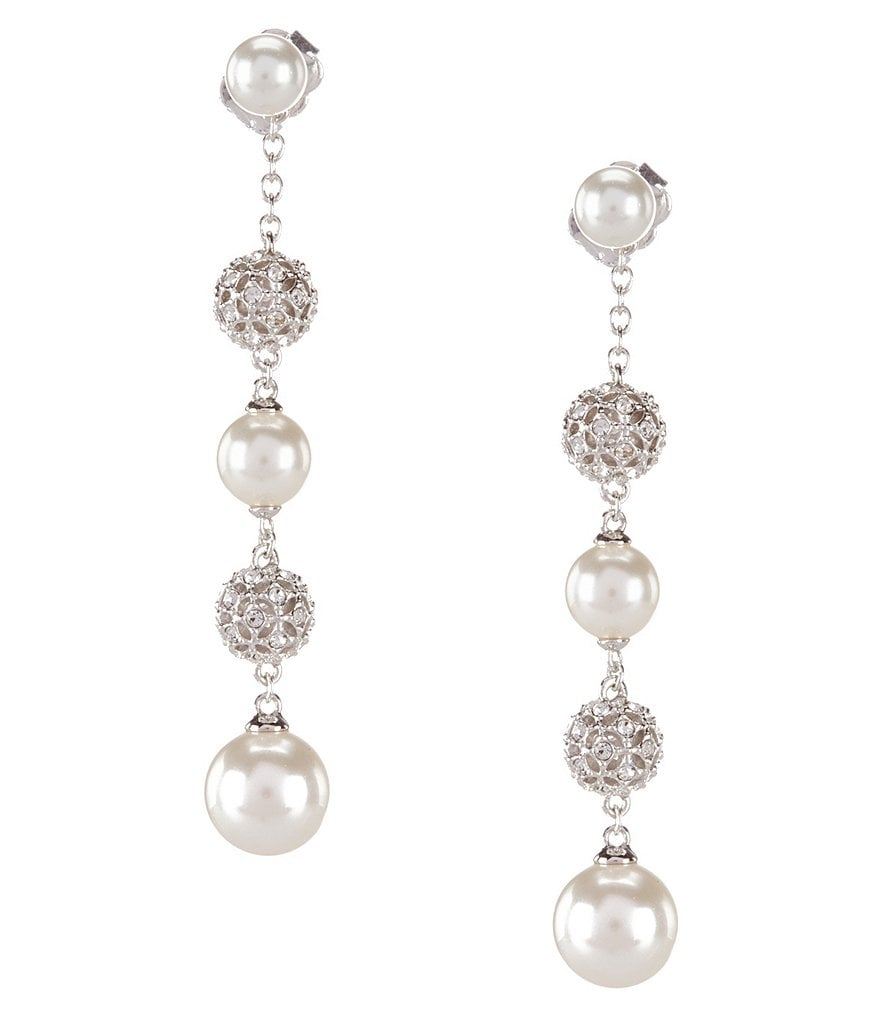 Nadri Pearl Linear Earrings