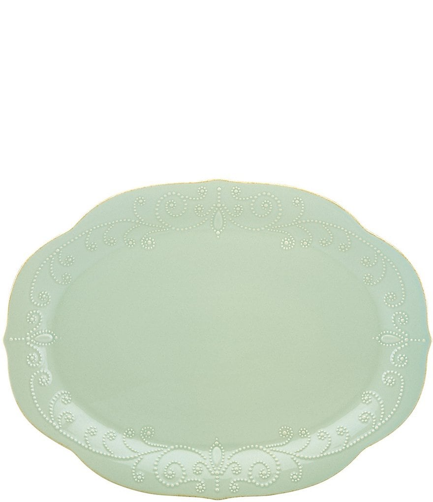 Lenox French Perle Scalloped Stoneware Oval Platter