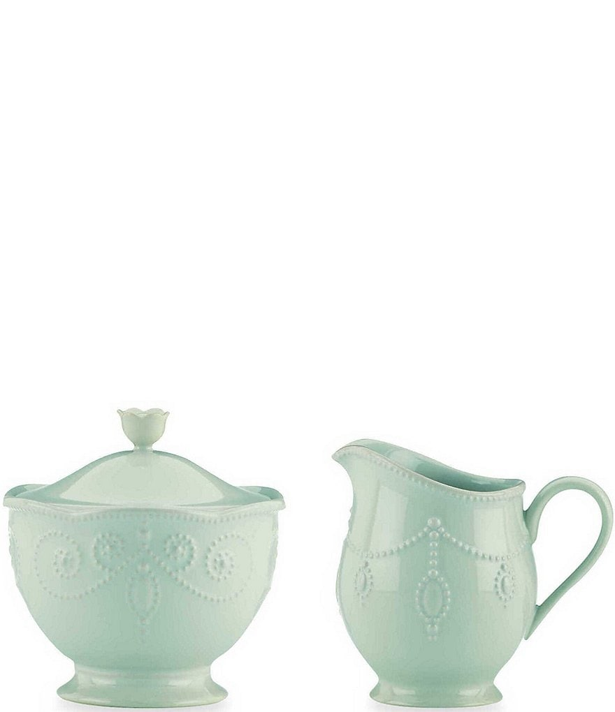 Lenox French Perle Beaded Scalloped Stoneware Sugar & Creamer Set