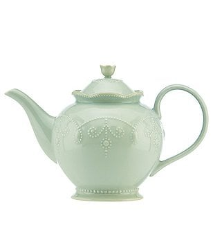 Lenox French Perle Beaded Scalloped Stoneware Teapot