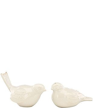 Lenox French Perle Beaded Scalloped Stoneware Bird Salt & Pepper Shaker Set
