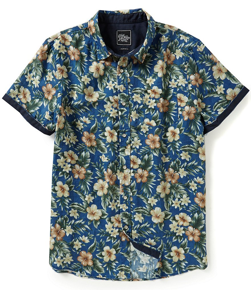 J.A.C.H.S. Manufacturing Co. Repeating Floral Print Linen Blend Short-Sleeve Shirt