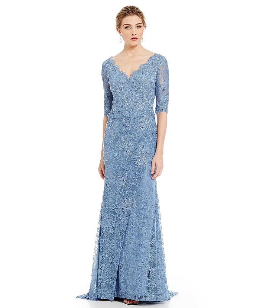MGNY Madeline Gardner New York Beaded Lace Scalloped Gown
