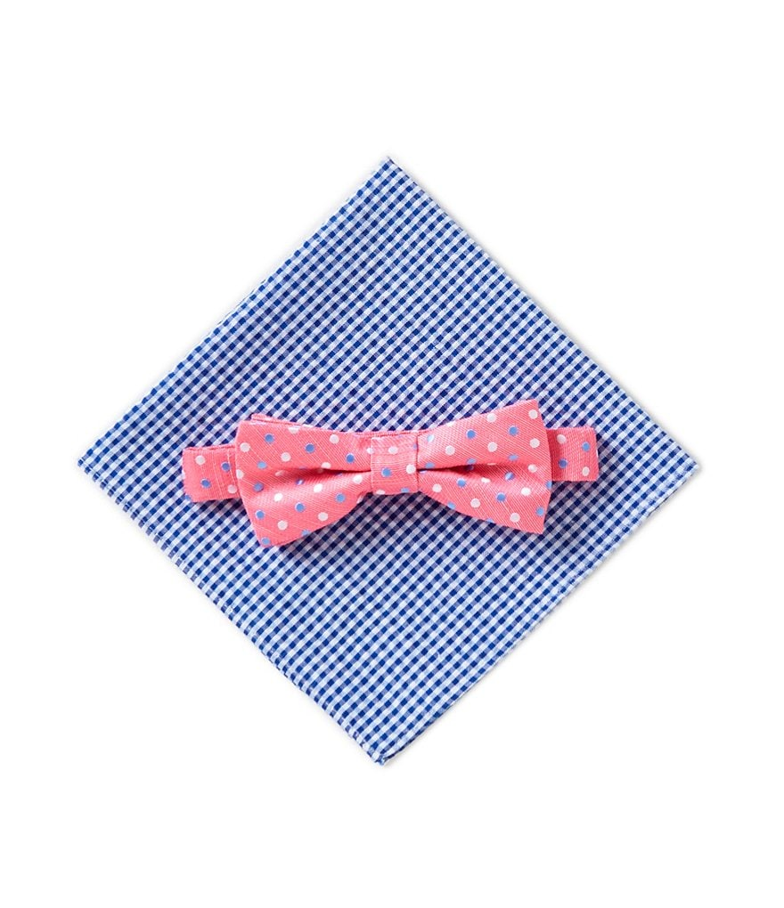 Class Club Pink Dotted Bow Tie & Gingham Pocket Square Set